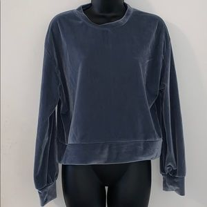 ZARA Small Blue Velvet Velour Sweatshirt EUC